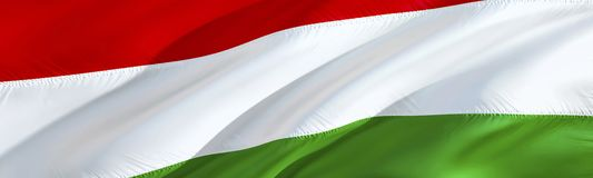 Hungary flag. 3D rendering Waving flag design. The national symbol of Hungarian. 3D Waving sign design. Waving sign background. Wallpaper. Hungary 3D pattern stock images
