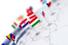 Hungary flag in the focus. Europe map with countries flags Stock Photography