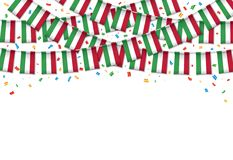 Hungary flag garland white background with confetti. Hang bunting for Hungarian independence Day celebration template banner, Vector illustration Royalty Free Stock Images
