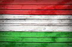 Hungary flag painted on wooden boards Stock Photography