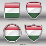 Hungary Flag in 4 shapes collection with clipping path Royalty Free Stock Image