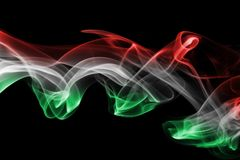 Hungary flag smoke. Isolated on a black background Stock Photo