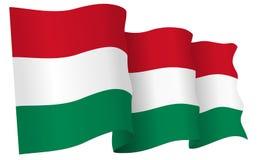 Hungary Flag Waving Vector Illustration Stock Photos