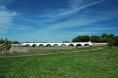 Hungary Hortobagy Nine Hole Bridge. With blue sky in the background Royalty Free Stock Photography