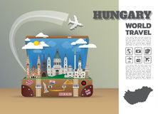 Hungary Landmark Global Travel And Journey Infographic luggage.  Royalty Free Stock Photo