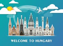 Hungary Landmark Global Travel And Journey paper background. Vec. Tor Design Template.used for your advertisement, book, banner, template, travel business or Royalty Free Stock Image