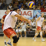 Hungary - Latvia volleyball game. KECSKEMET, HUNGARY - AUGUST 26: Andras Geiger (5) in action at an Olympic qualification volleyball game Hungary (white) vs Stock Image