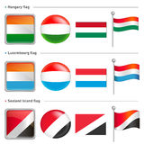 Hungary and Luxembourg, Sealand Island Flag Icon. The world nati Stock Photos