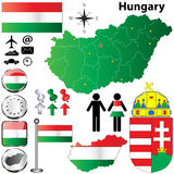 Hungary map. Vector set of Hungary country shape with flags, buttons and icons isolated on white background Stock Images