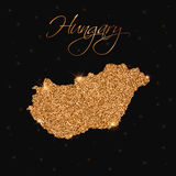 Hungary map filled with golden glitter. Stock Photo