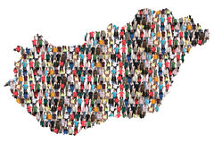 Hungary map multicultural group of people integration immigration diversity. Isolated stock photos