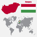 Hungary map on a world map with flag and map pointer. Vector illustration Stock Photography