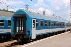 Hungary MAV train. BUDAPEST, HUNGARY - JUNE 19, 2014: Hungarian state railways MAV passenger train in Budapest. MAV operates since 1869 and has 20,000 employees Stock Photos