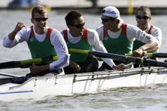Hungary Men's Quadruple Sculls. Bosbaan, Amsterdam, Netherlands - 23 July 2011: Hungary's Lightweight Men's Four reaches the finals of the world championships Royalty Free Stock Photo