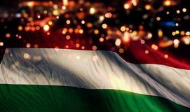Hungary National Flag Light Night Bokeh Abstract Background Stock Photo
