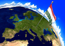 Hungary national flag marking the country location on world map. 3D rendering Royalty Free Stock Photography