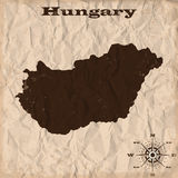 Hungary old map with grunge and crumpled paper. Vector illustration Stock Photo