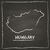 Hungary outline vector map hand drawn with chalk. Royalty Free Stock Photos