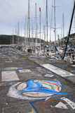 Hungary painting in Horta Harbour - Azores Royalty Free Stock Photo