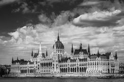 Hungary parliament. Budapest black and white Royalty Free Stock Photography