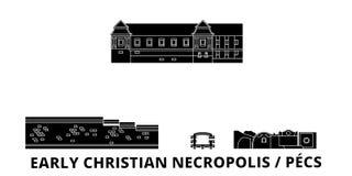 Hungary, Pecs, Early Christian Necropolis flat travel skyline set. Hungary, Pecs, Early Christian Necropolis black city stock illustration