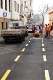 HUNGARY, PECS- JANUARY 7. road services make drawing a road mark Royalty Free Stock Photos