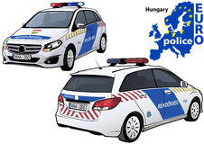 Hungary Police Car. Colored Illustration from Series Europol, Vector Royalty Free Stock Photo
