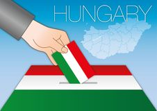 Hungary, political elections, ballot box with flag Royalty Free Stock Photography