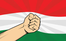 Hungary protest fight against a government illustration with flag as background and hand Stock Photos