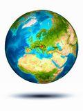 Hungary on Earth with white background. Hungary in red on model of planet Earth hovering in space. 3D illustration isolated on white background. Elements of this stock photography