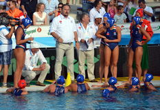 Hungary's Andras MERESZ head coach talking about the tactics. Budapest, Hungary - Jul 16, 2014. Hungary's Andras MERESZ head coach talking about the tactics. The Royalty Free Stock Photos