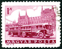 HUNGARY - 1963: shows Bus and Parliament Royalty Free Stock Photography