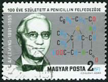 HUNGARY - 1981: shows Sir Alexander Fleming 1881-1955, Discoverer of Penicillin. HUNGARY - CIRCA 1981: A stamp printed in Hungary shows Sir Alexander Fleming royalty free stock image