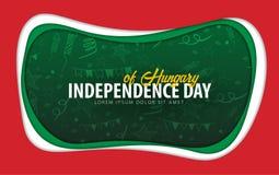 hungary Självständighetsdagenhälsningkort papperssnittstil stock illustrationer