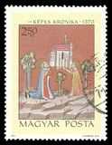 King Stephen and Queen Gizella founding a church. Hungary - stamp 1971: Color edition on Illustrations from the Kepes Kronika, shows King Stephen and Queen royalty free stock photography