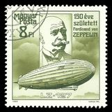 Graf Zeppelin. Hungary - stamp printed 1988, Multicolor Edition offset printing, Topic Aviation, Series 150th anniversary of the birth of the German airship Stock Photos