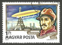 Alberto Santos Dumont. Hungary - stamp printed 1977, Multicolor memorable edition Photogravure Printing, Topic Inventors, Aircraft and Zeppelins, Series History Royalty Free Stock Photos