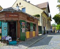 HUNGARY, SZENTENDRE: Street view. Corner shop of souvenirs and handmade goods. Szentendre- small town near of Budapest, Hungary royalty free stock photography