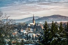 Hungary town winter landscape royalty free stock image