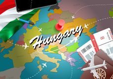 Hungary travel concept map background with planes, tickets. Visi royalty free illustration