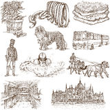 Hungary. Traveling series: Hungary, part 1 - Collection of an hand drawn illustrations. Description: Full sized hand drawn illustrations isolated on white stock illustration