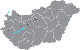 Hungary vector  map. Vector map of Hungary with counties and Budapest on separate named layers Stock Photography