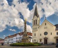 Franciscan church and plague column royalty free stock photography