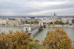 Hungary, view  on the Budapest city, Szechenyi Chain Bridge  and Royalty Free Stock Photography