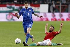 Hungary vs. Croatia international friendly football match royalty free stock photo