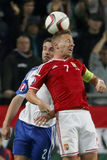 Hungary vs. Faroe Islands UEFA Euro 2016 qualifier football match Royalty Free Stock Image