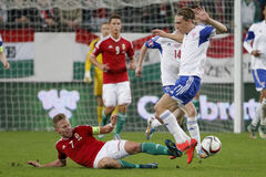 Hungary vs. Faroe Islands UEFA Euro 2016 qualifier football match Royalty Free Stock Photos