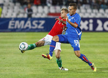 Hungary vs. Iceland football game Stock Images