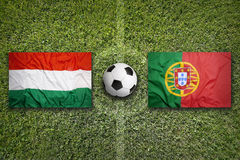 Hungary vs. Portugal on soccer field Royalty Free Stock Image