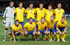 Hungary vs. Sweden football game royalty free stock photography